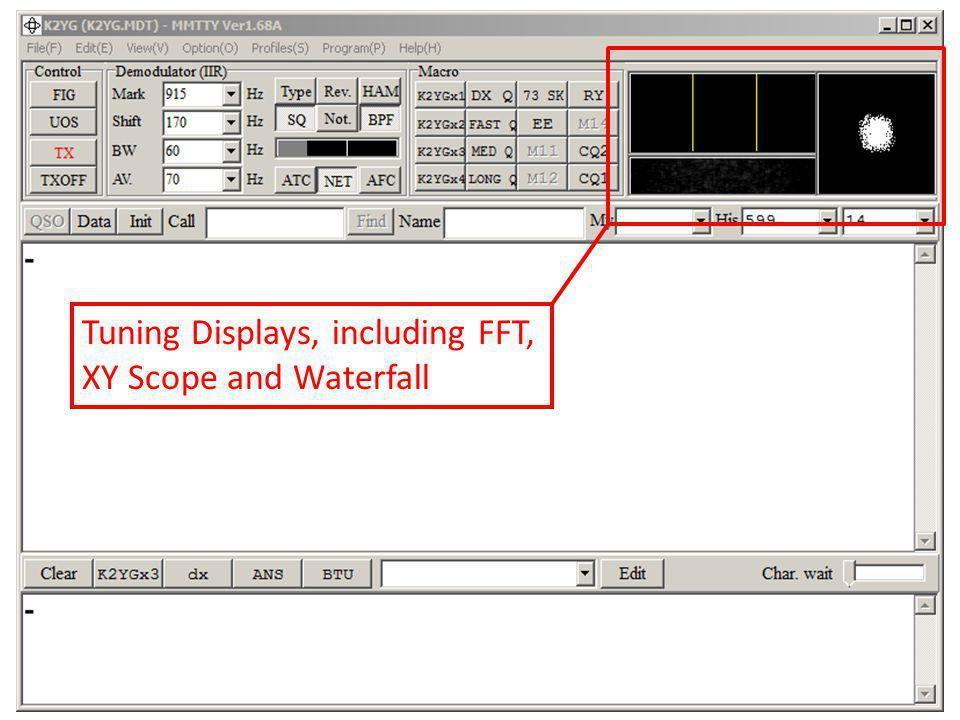 Tuning Displays, including FFT, XY Scope and Waterfall