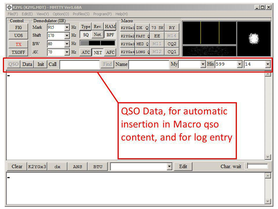 QSO Data, for automatic insertion in Macro qso content, and for log entry