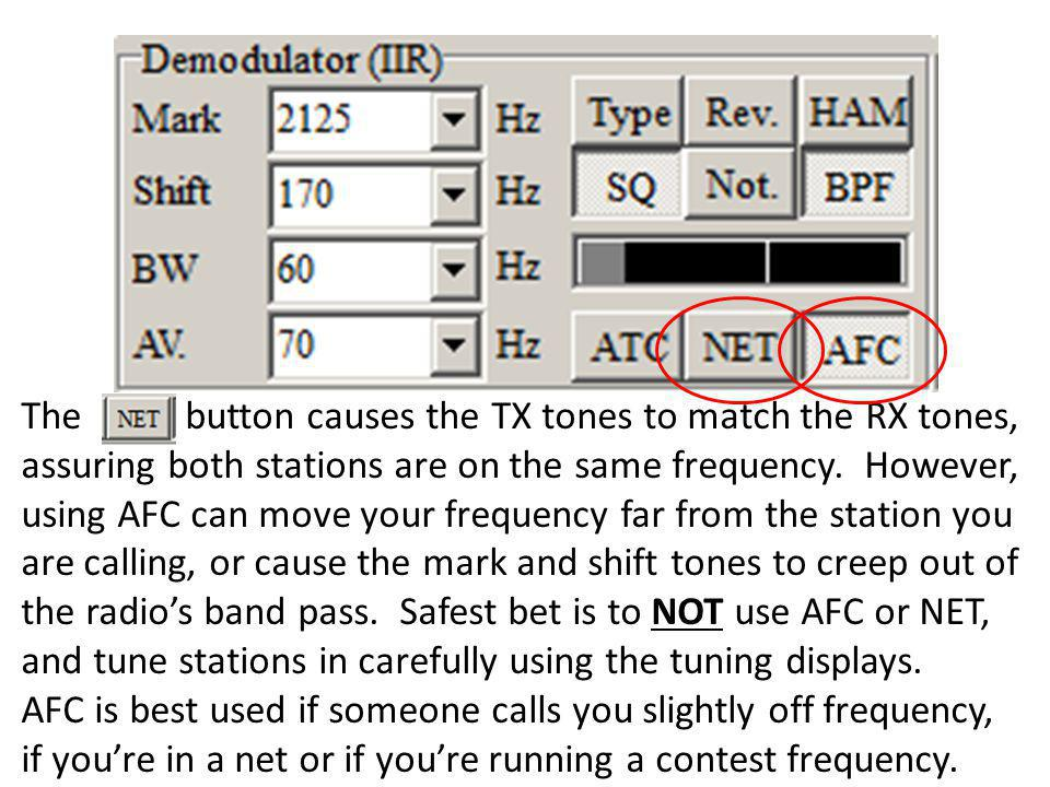 The button causes the TX tones to match the RX tones, assuring both stations are on the same frequency.