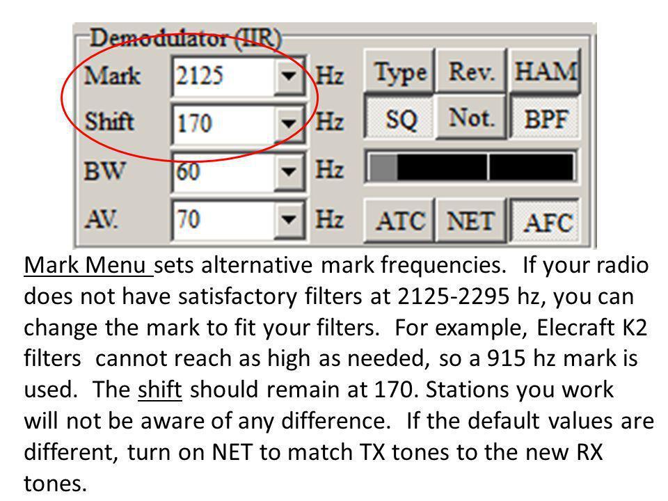 Mark Menu sets alternative mark frequencies
