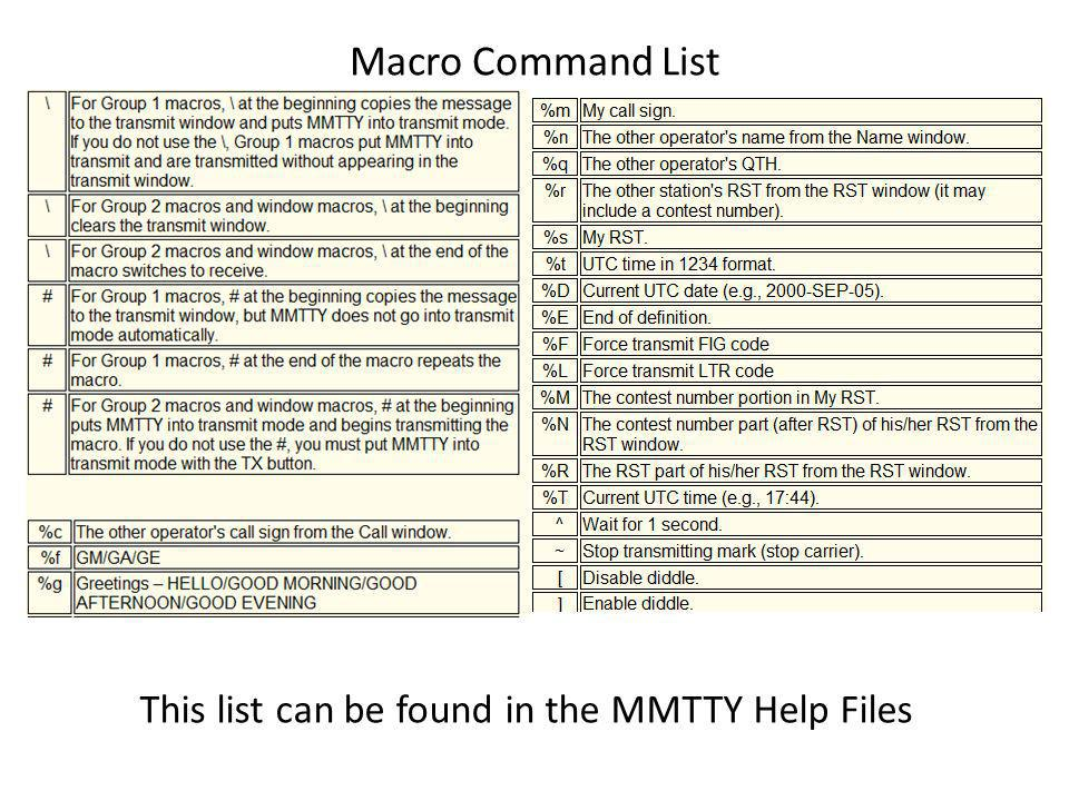 Macro Command List This list can be found in the MMTTY Help Files