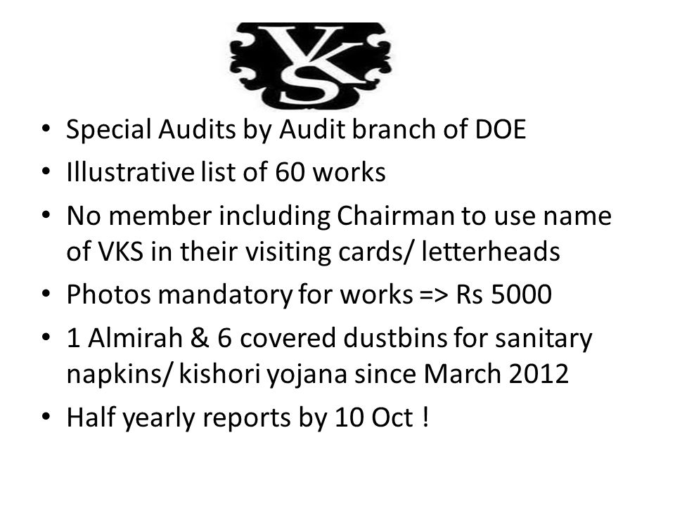 Special Audits by Audit branch of DOE