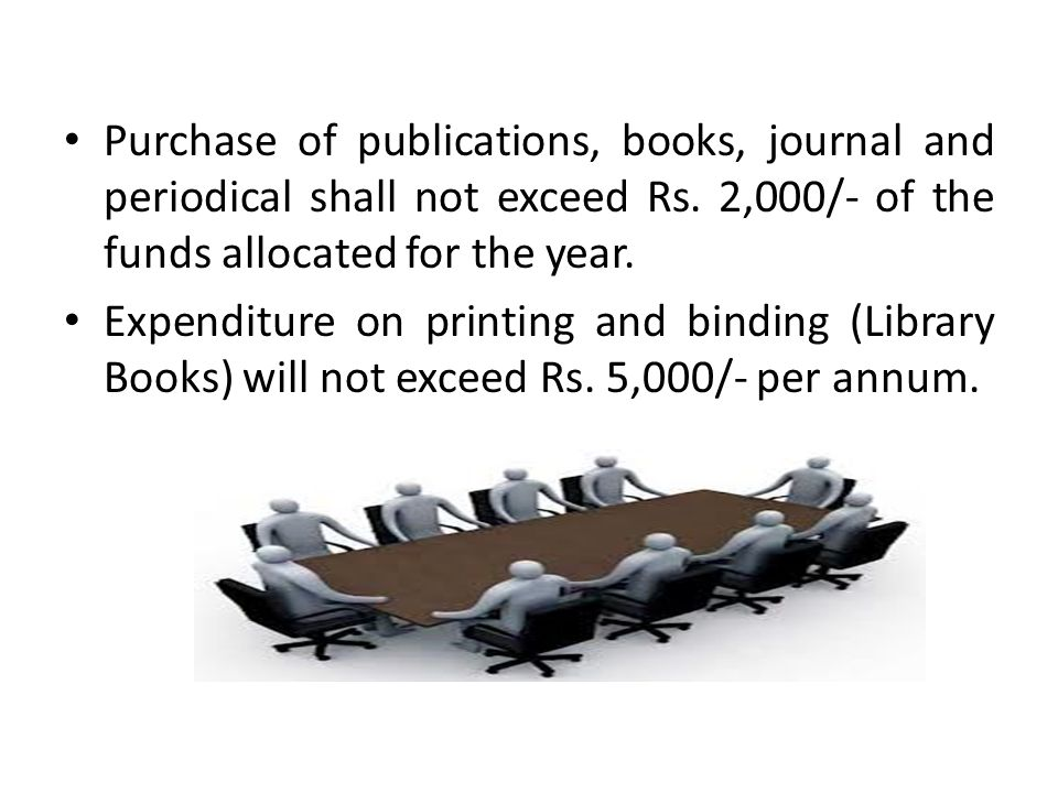 Purchase of publications, books, journal and periodical shall not exceed Rs. 2,000/- of the funds allocated for the year.