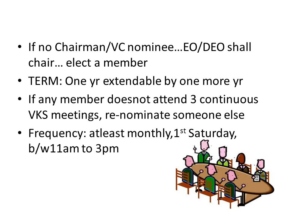 If no Chairman/VC nominee…EO/DEO shall chair… elect a member