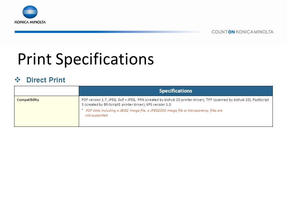 Print Specifications Direct Print Specifications Compatibility