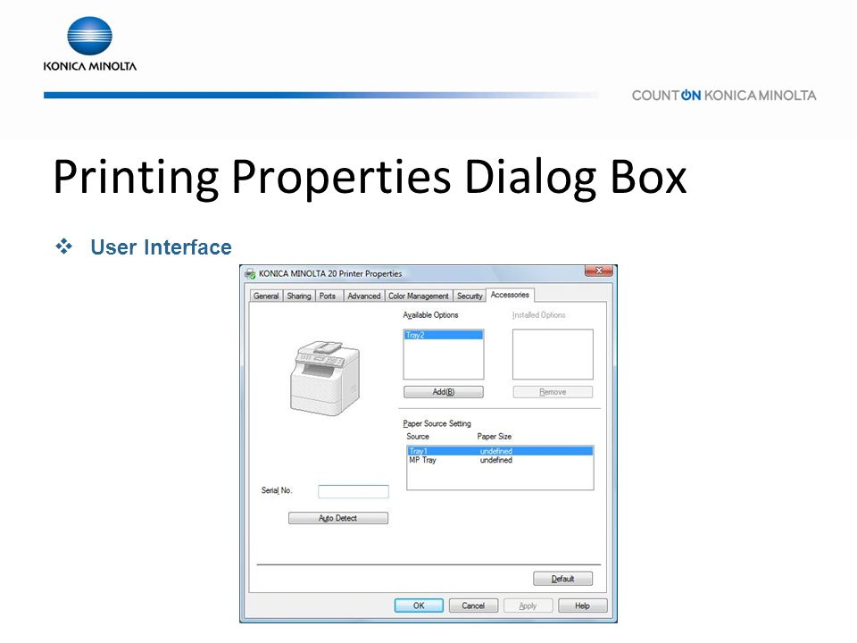 Printing Properties Dialog Box