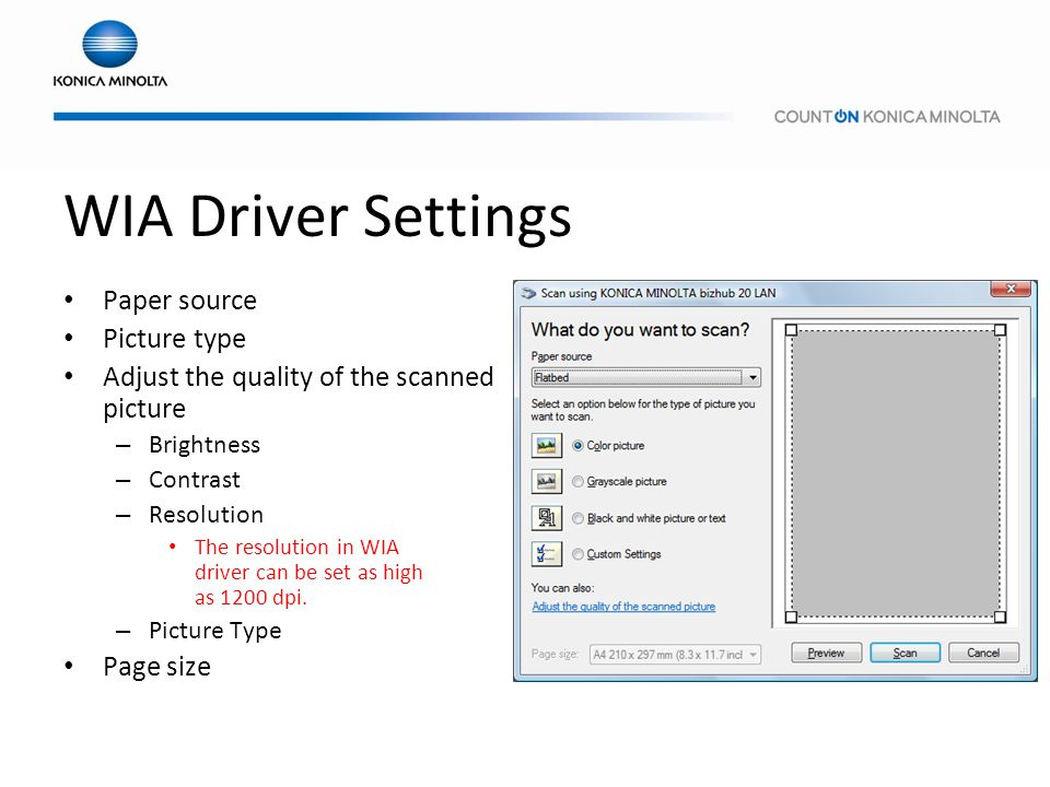 WIA Driver Settings Paper source Picture type