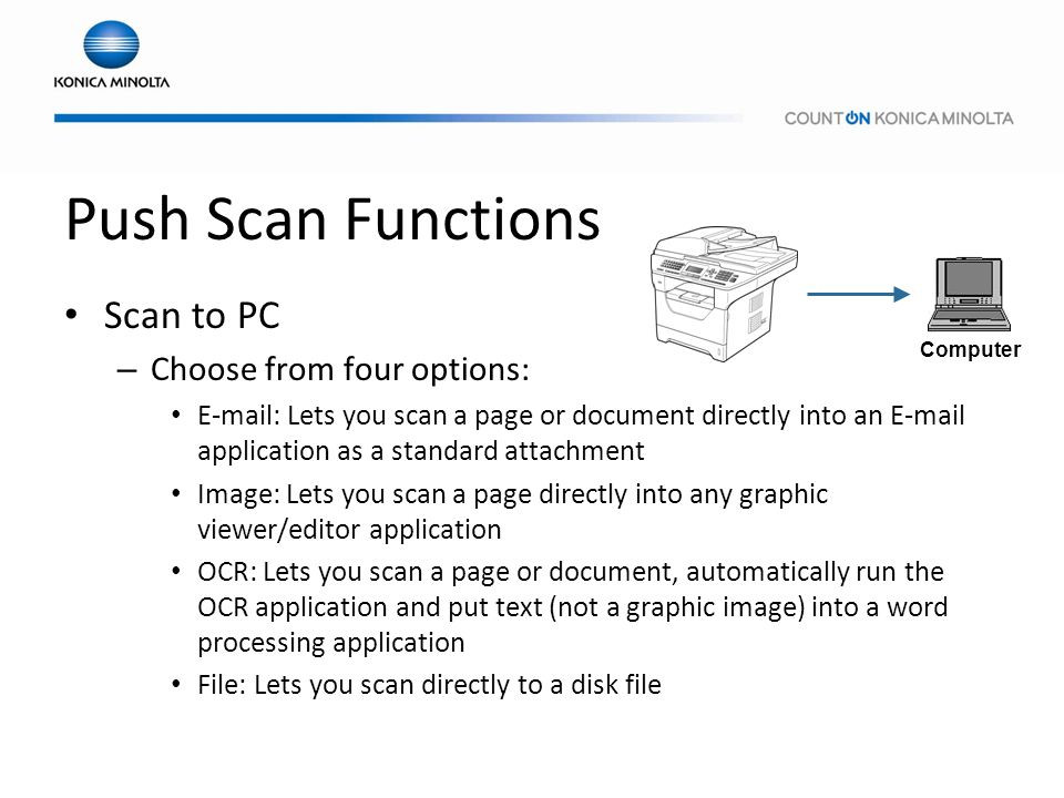 Push Scan Functions Scan to PC Choose from four options: