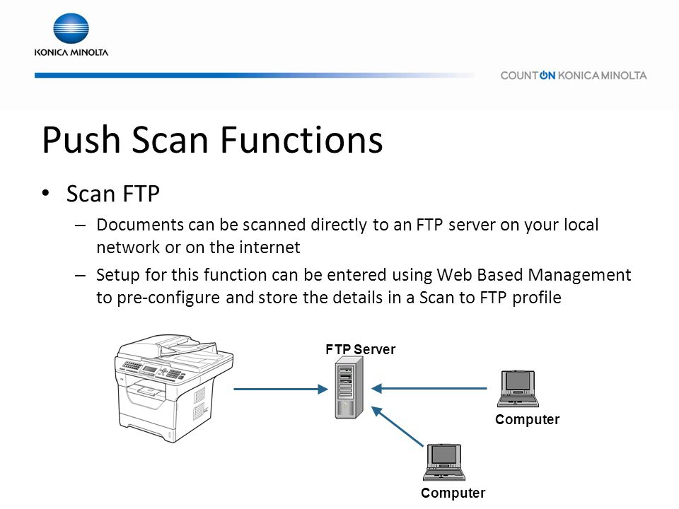 Push Scan Functions Scan FTP