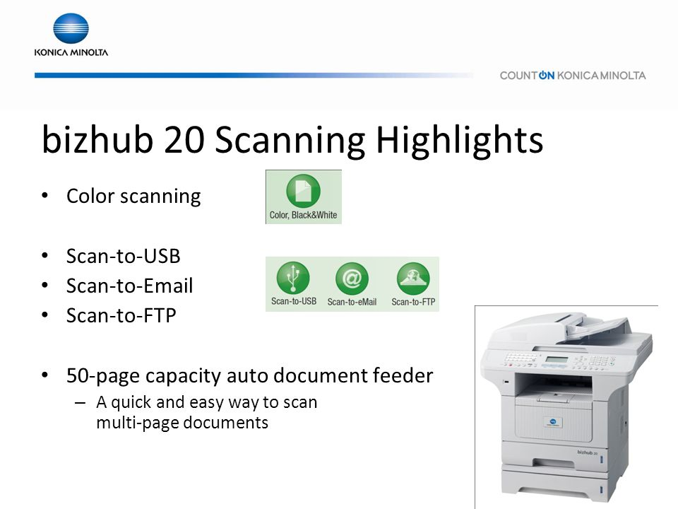 bizhub 20 Scanning Highlights