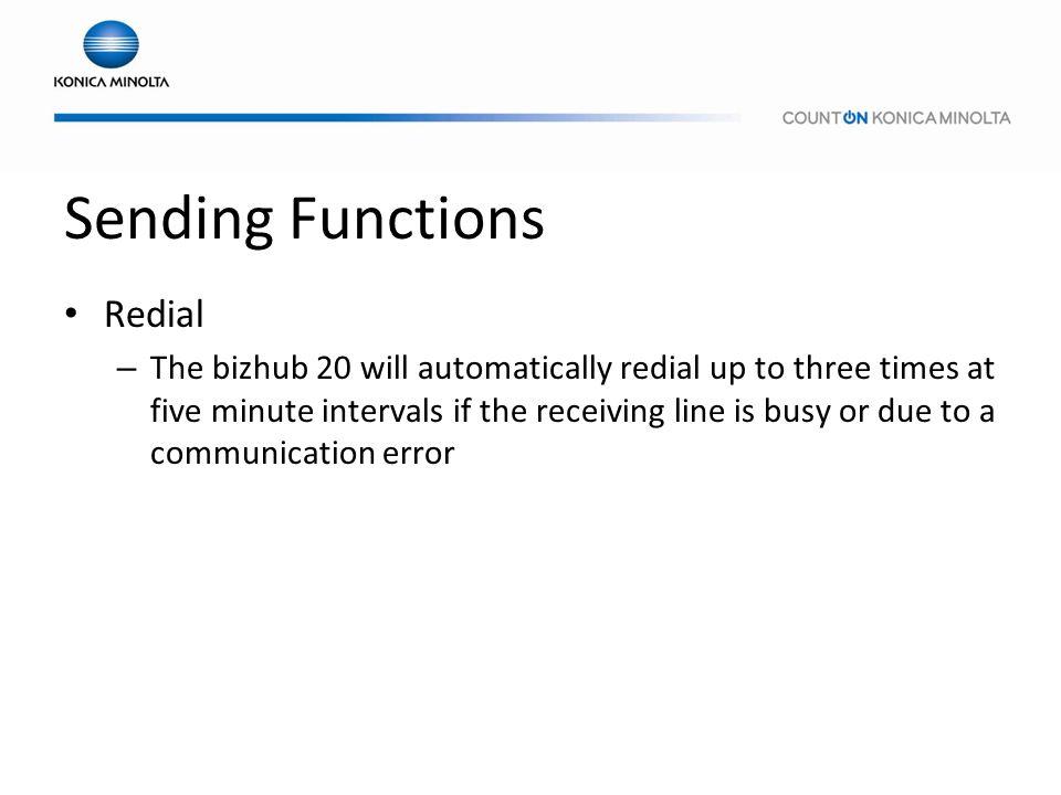 Sending Functions Redial