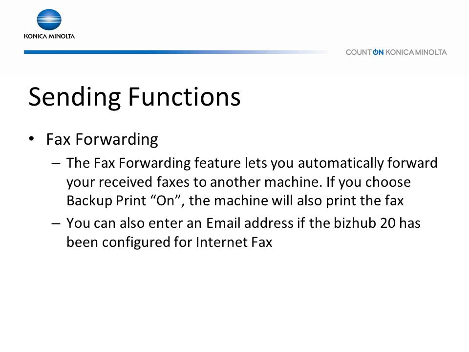 Sending Functions Fax Forwarding