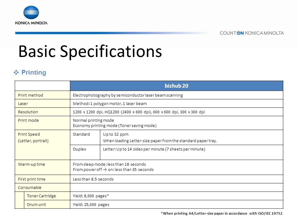 Basic Specifications Printing bizhub 20 Print method