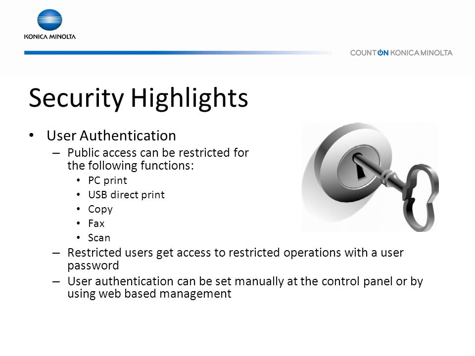 Security Highlights User Authentication