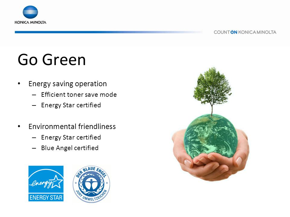 Go Green Energy saving operation Environmental friendliness