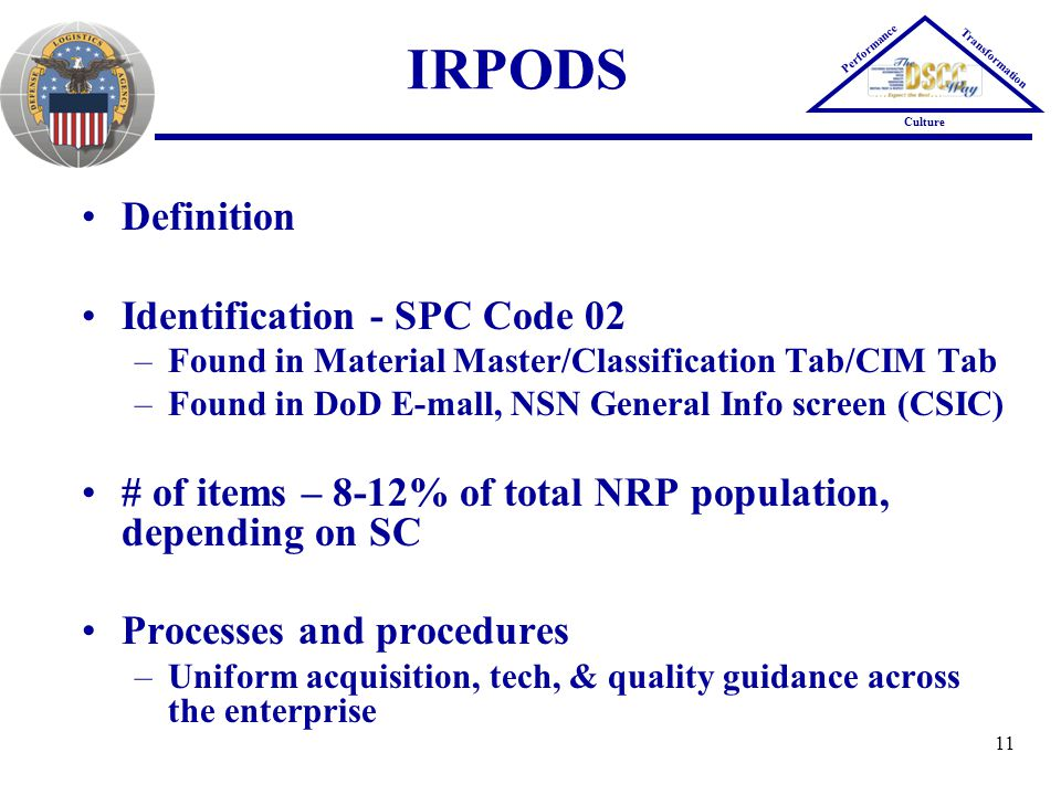 IRPODS Definition Identification - SPC Code 02