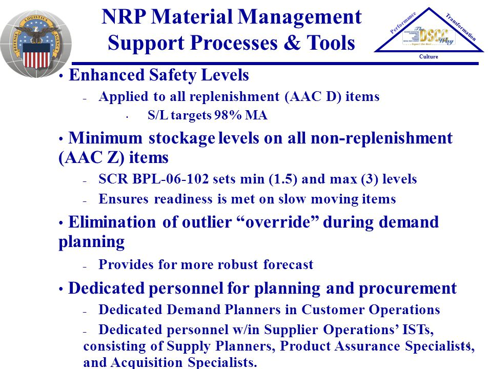 NRP Material Management Support Processes & Tools