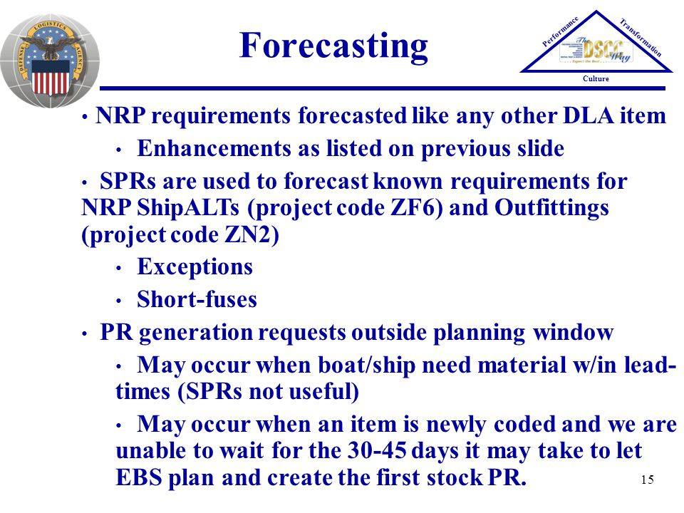 Forecasting NRP requirements forecasted like any other DLA item