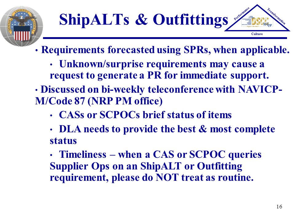 ShipALTs & Outfittings