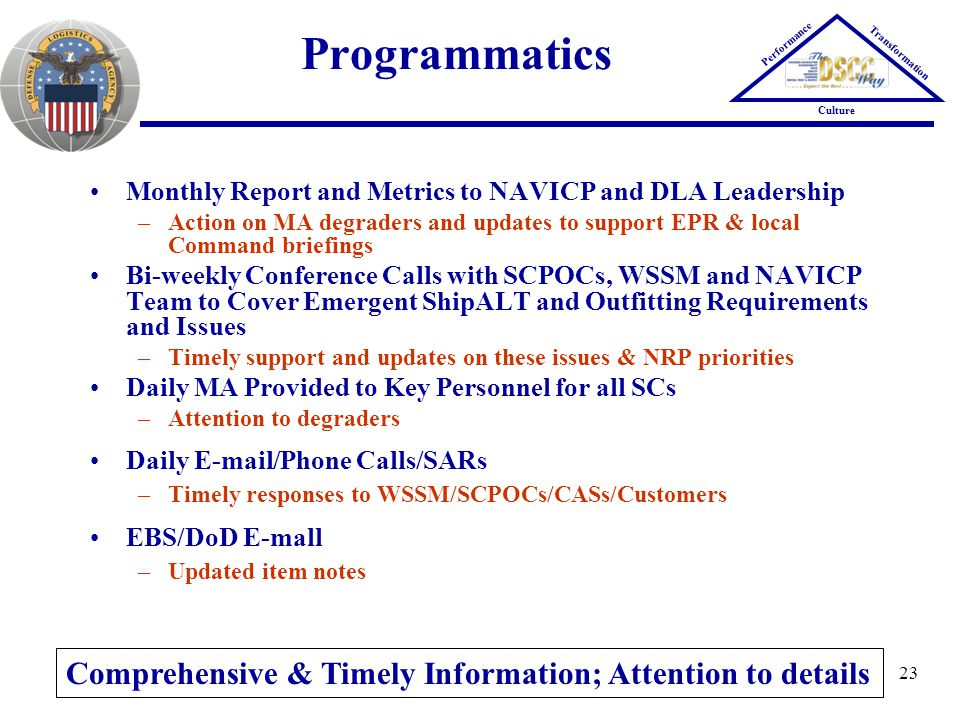 Programmatics Comprehensive & Timely Information; Attention to details