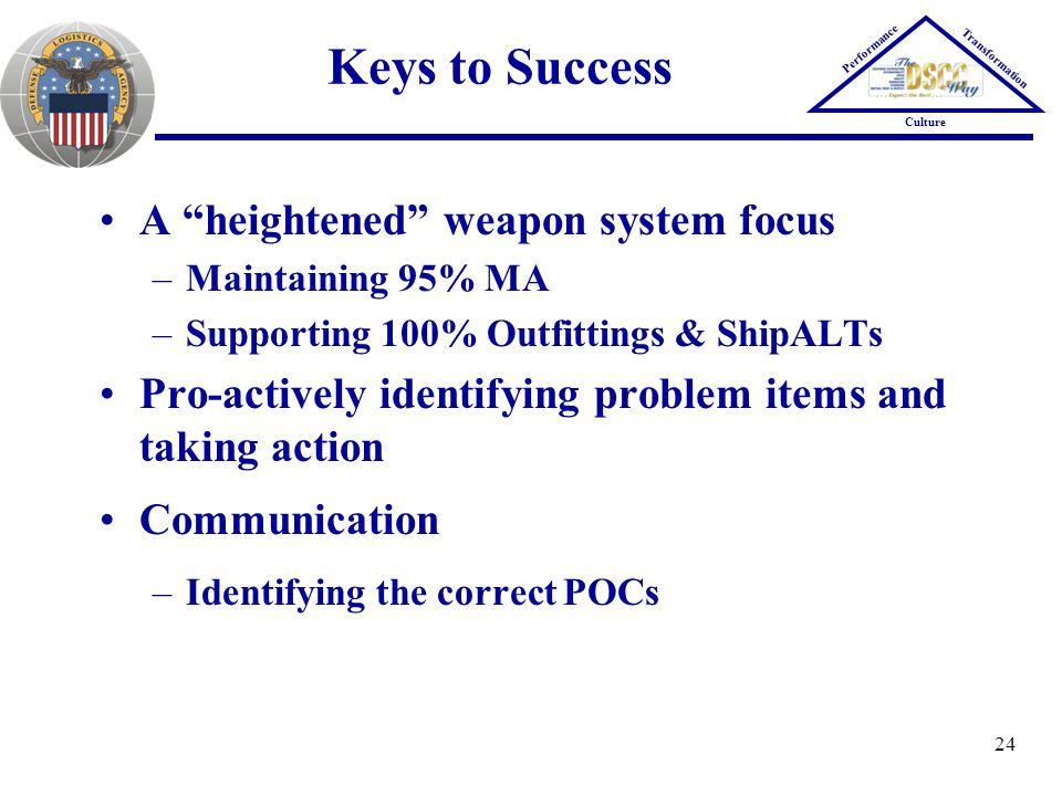 Keys to Success A heightened weapon system focus