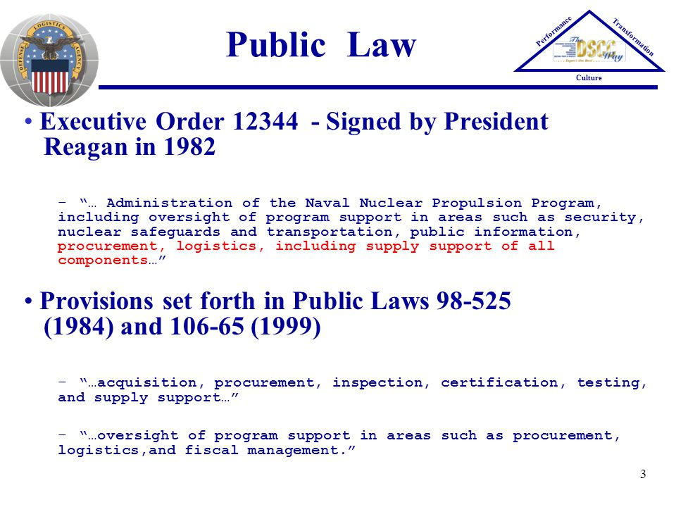Public Law Executive Order 12344 - Signed by President Reagan in 1982