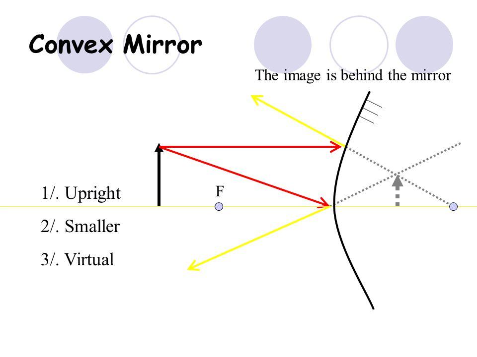 Convex Mirror 1/. Upright 2/. Smaller 3/. Virtual