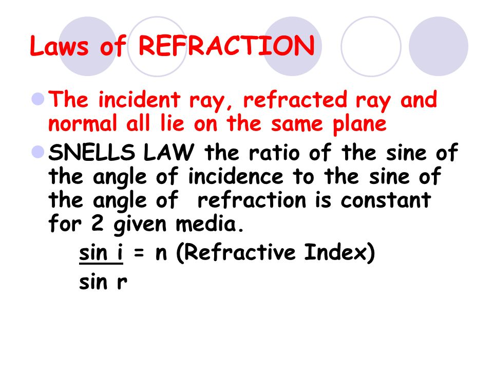Laws of REFRACTION The incident ray, refracted ray and normal all lie on the same plane.