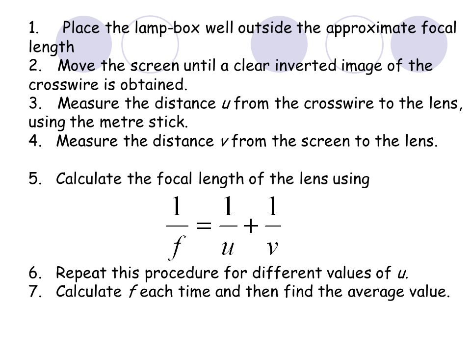 1. Place the lamp-box well outside the approximate focal length
