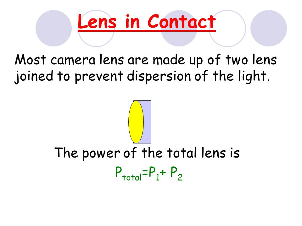 The power of the total lens is