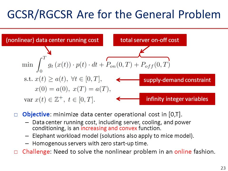 GCSR/RGCSR Are for the General Problem
