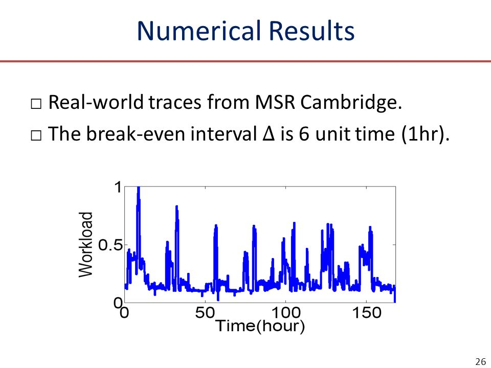 Numerical Results Real-world traces from MSR Cambridge.