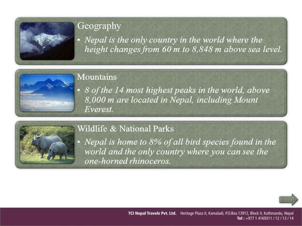 Geography Nepal is the only country in the world where the height changes from 60 m to 8,848 m above sea level.