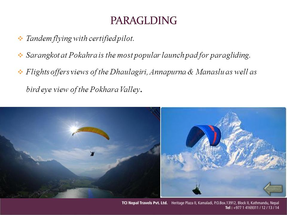 PARAGLDING Tandem flying with certified pilot.
