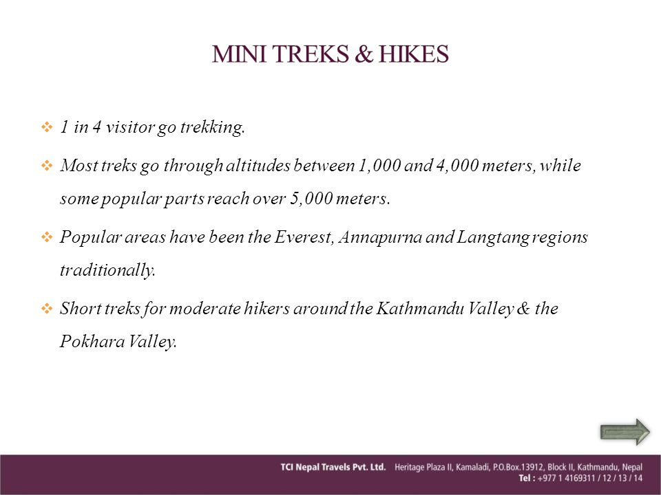 MINI TREKS & HIKES 1 in 4 visitor go trekking.