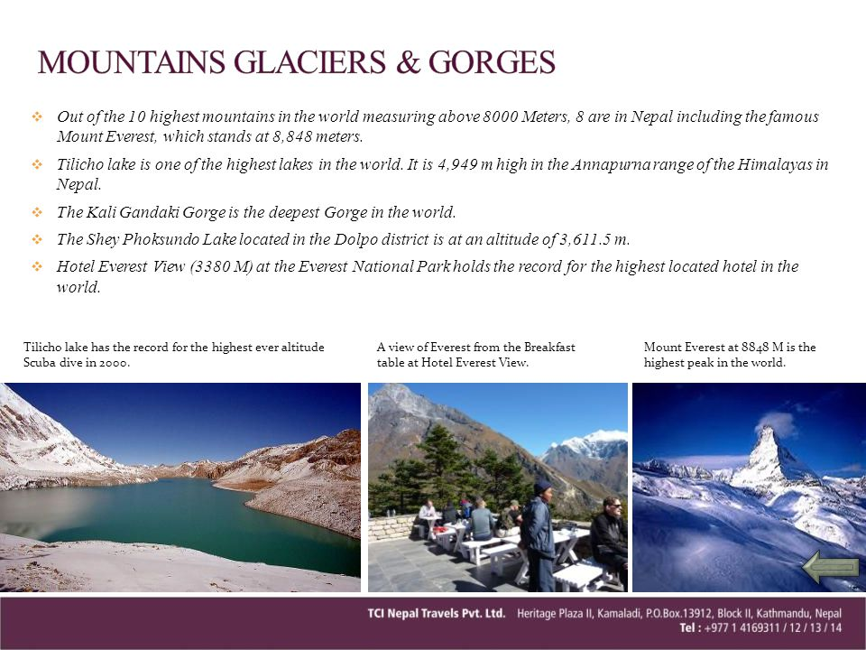 MOUNTAINS GLACIERS & GORGES