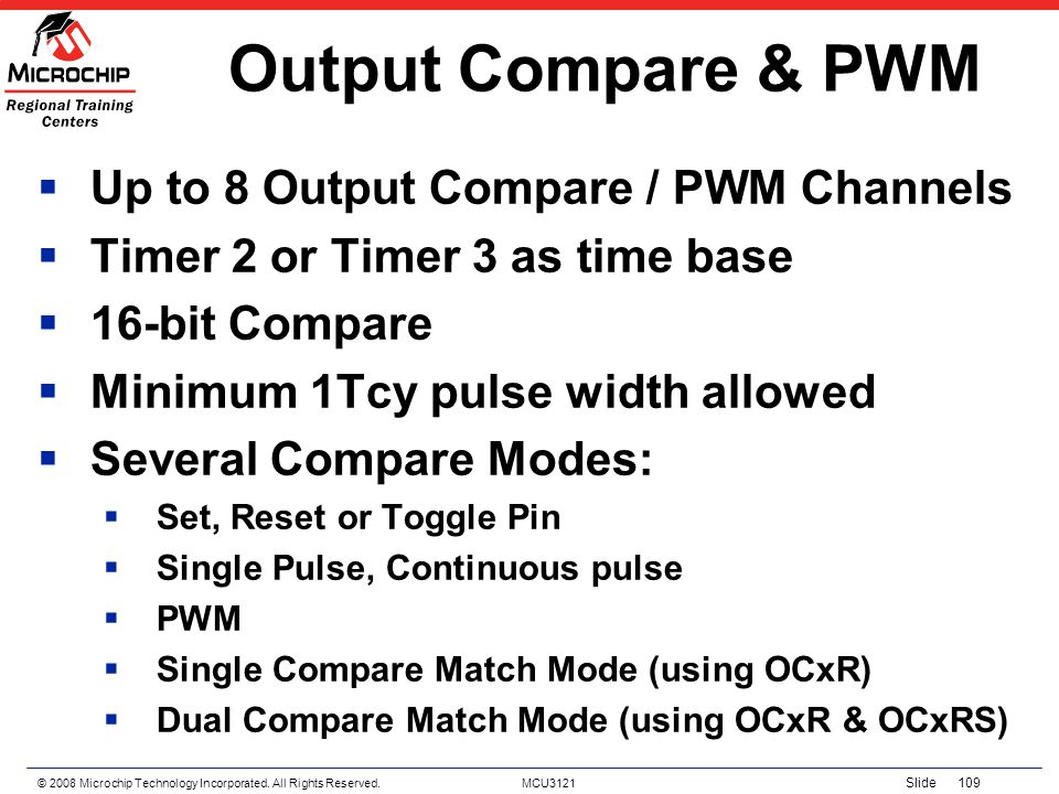Output Compare & PWM Up to 8 Output Compare / PWM Channels