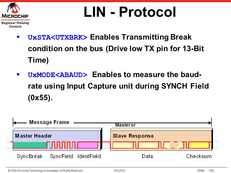 LIN - Protocol UxSTA<UTXBRK> Enables Transmitting Break condition on the bus (Drive low TX pin for 13-Bit Time)
