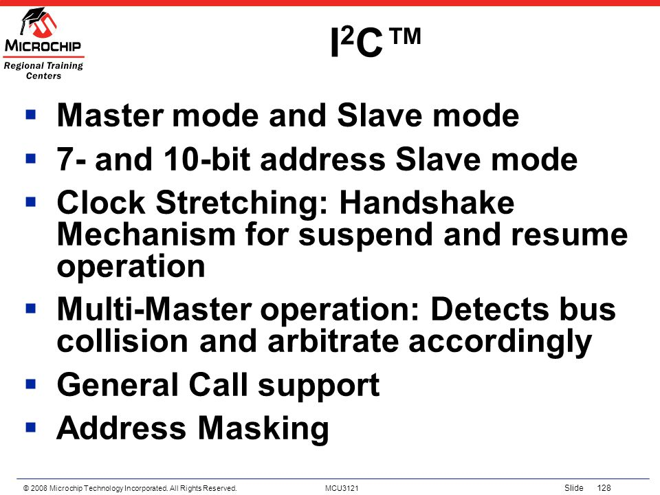 I2C™ Master mode and Slave mode 7- and 10-bit address Slave mode