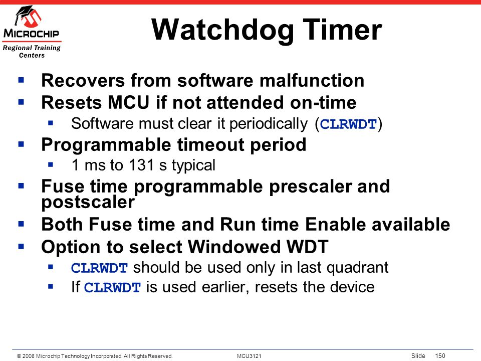 Watchdog Timer Recovers from software malfunction