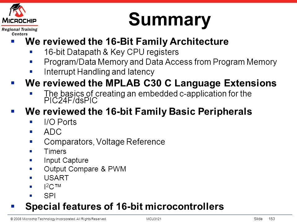 Summary We reviewed the 16-Bit Family Architecture