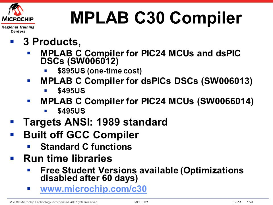 MPLAB C30 Compiler 3 Products, Targets ANSI: 1989 standard