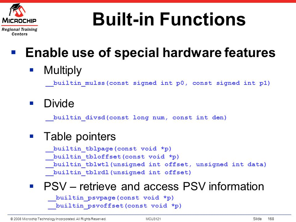 Built-in Functions Enable use of special hardware features Multiply