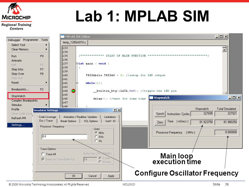 Main loop execution time Configure Oscillator Frequency