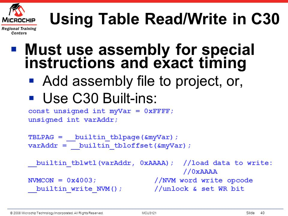 Using Table Read/Write in C30