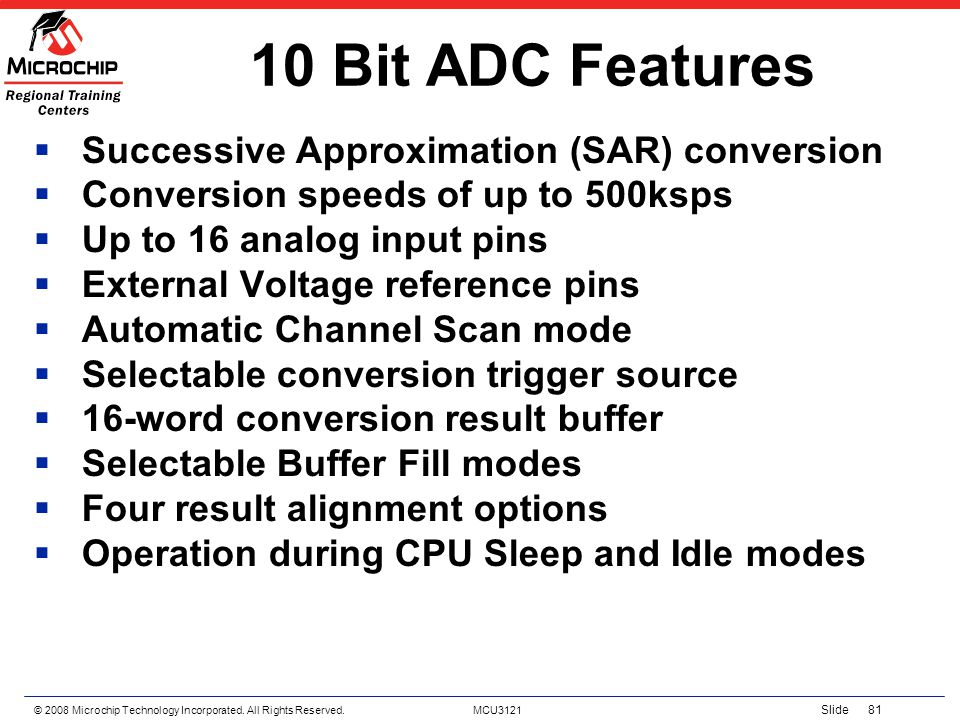 10 Bit ADC Features Successive Approximation (SAR) conversion