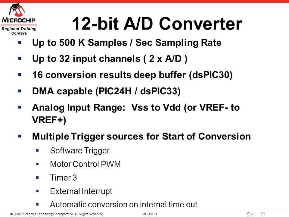 12-bit A/D Converter Up to 500 K Samples / Sec Sampling Rate
