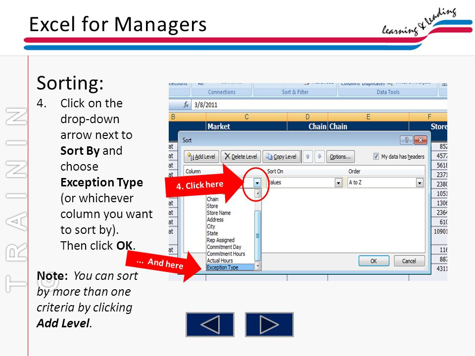 TRAINING Excel for Managers Sorting: