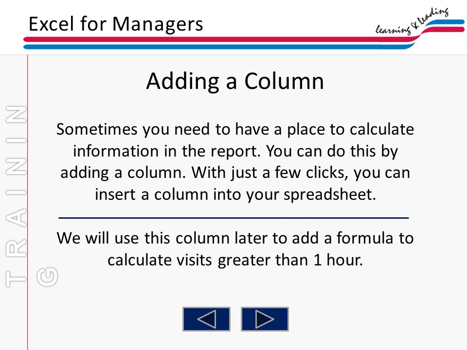 Adding a Column TRAINING Excel for Managers