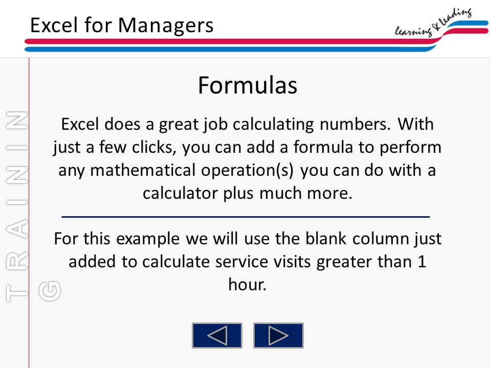 Formulas TRAINING Excel for Managers